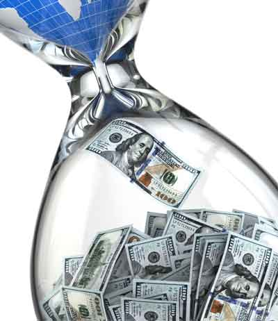 money flowing into an hour glass